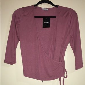 Mauve Surplice Crop Top